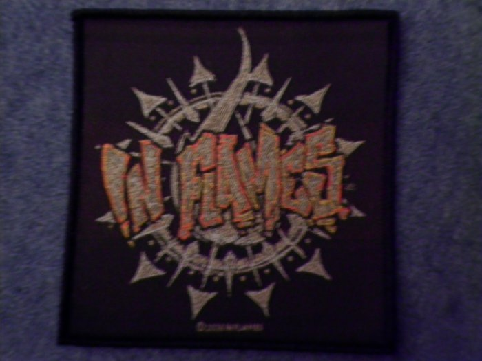 IN FLAMES sew-on PATCH circle logo import NEW