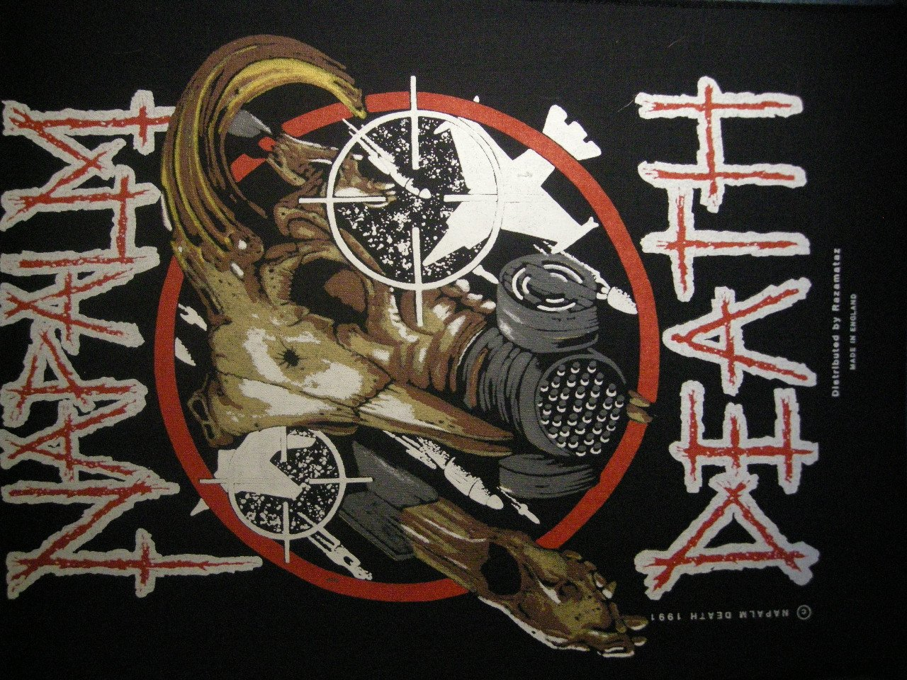 NAPALM DEATH BACKPATCH gas mask goat patch IMPORT