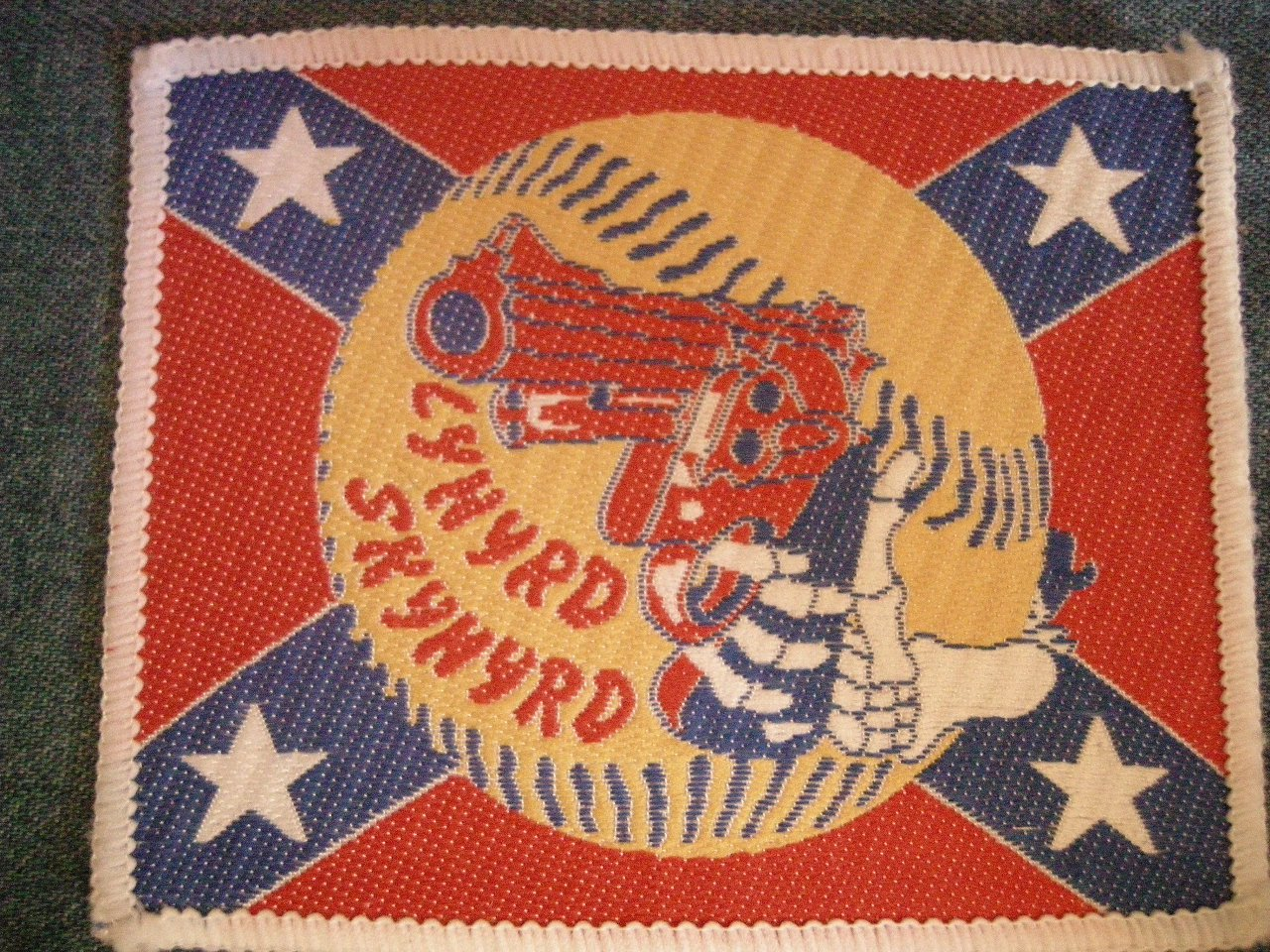 LYNYRD SKYNYRD sew-on PATCH rebel flag gun baseball VINTAGE