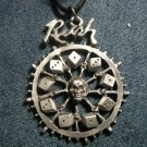 RUSH METAL NECKLACE Roll The Bones wheel logo VINTAGE