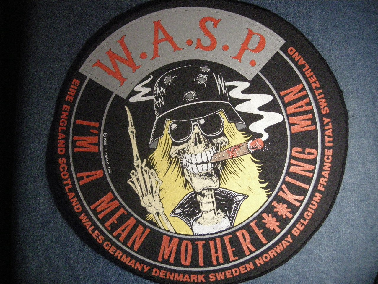 W.A.S.P. BACKPATCH I'm A Mean Man wasp patch VINTAGE