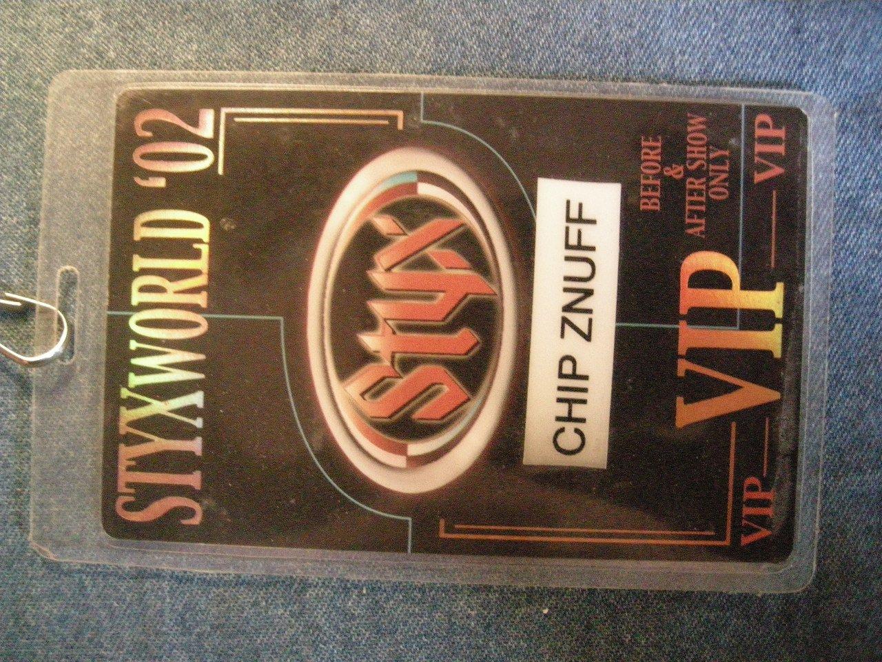 STYX BACKSTAGE PASS Styxworld 2002 enuff z'nuff chip vip laminate bsp