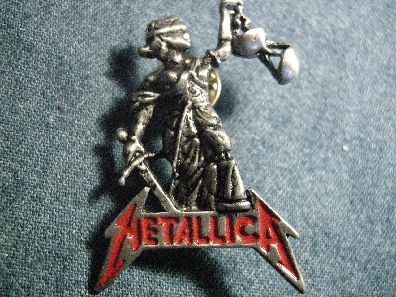 METALLICA METAL PIN And Justice For All logo badge VINTAGE