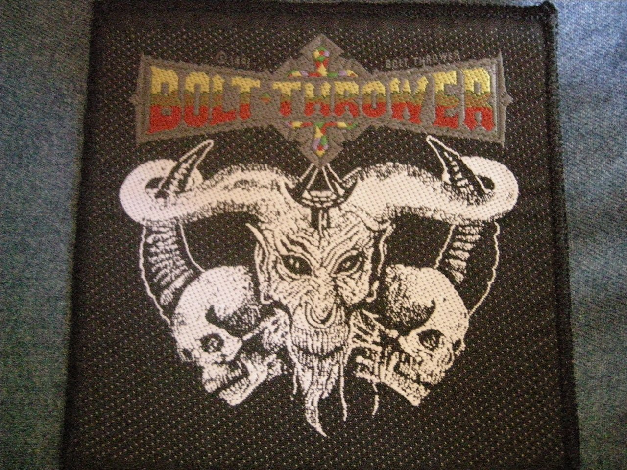 BOLT THROWER sew-on PATCH demon logo VINTAGE
