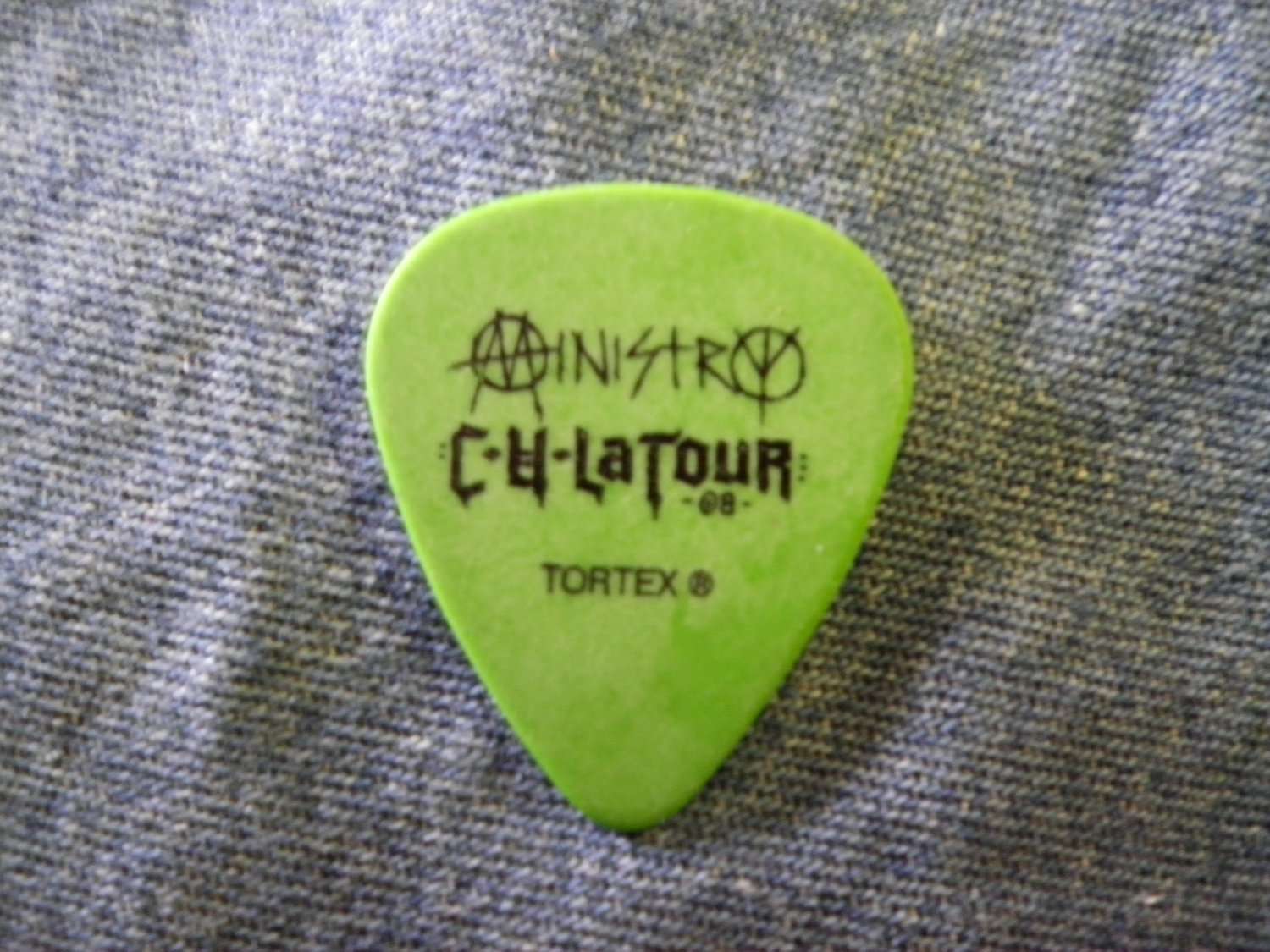 MINISTRY GUITAR PICK Tour 2008 Tommy Vicar green SALE
