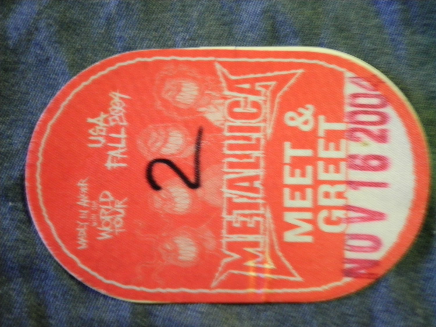 METALLICA BACKSTAGE PASS 2004 madly in anger with the world meet & greet bsp