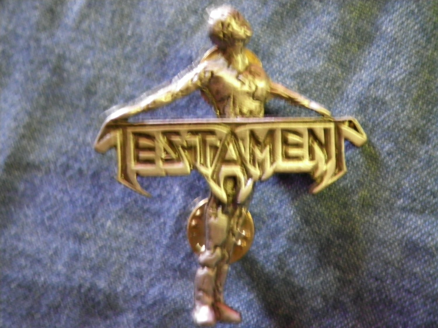 TESTAMENT METAL PIN Practice What You Preach badge VINTAGE