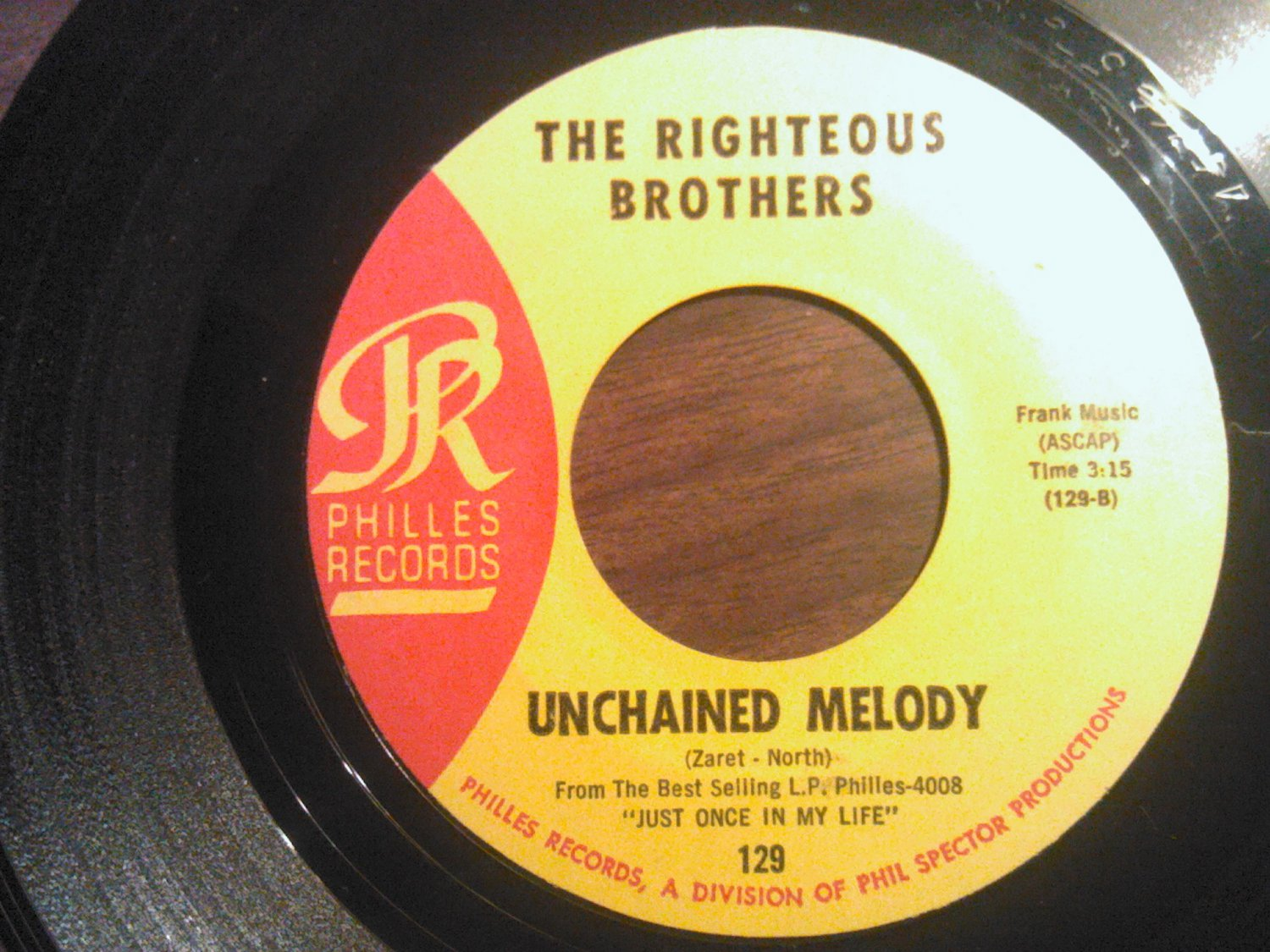 45 THE RIGHTEOUS BROTHERS Unchained Melody b/w Hung On You philles vintage vinyl record