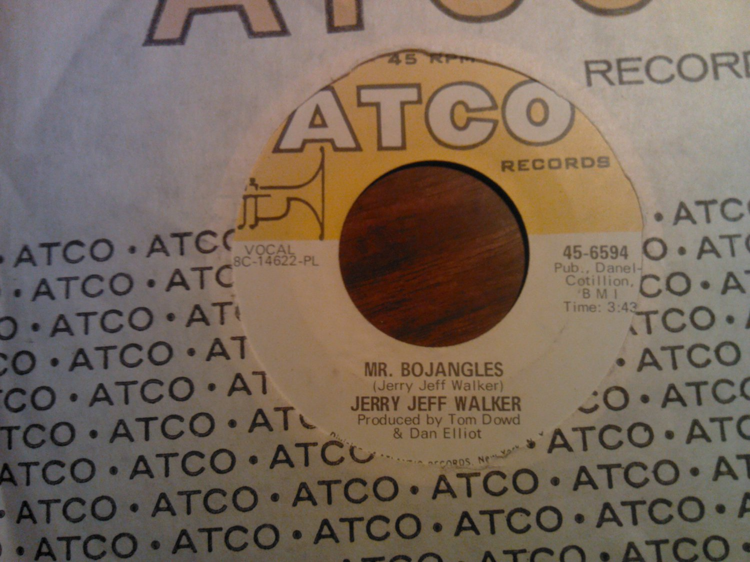 45 JERRY JEFF WALKER Mr Bojangles b/w Round And Round atco vintage vinyl record