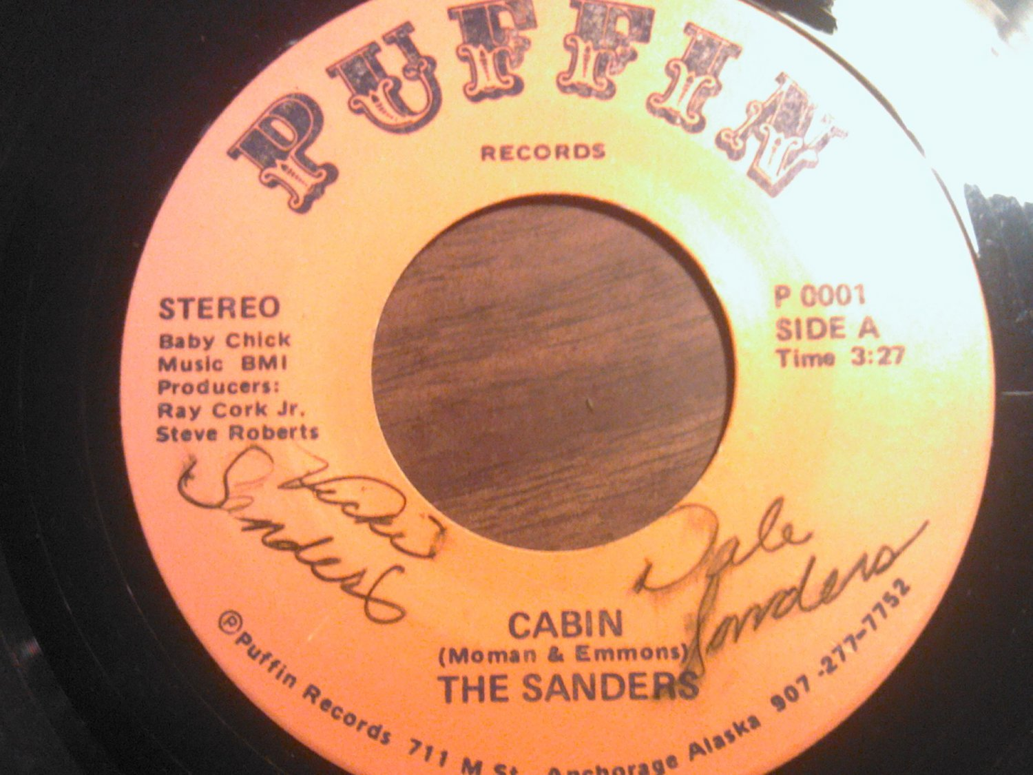 45 THE SANDERS cabin b/w be with me dale vicki puffin alaska vintage vinyl record AUTOGRAPHED