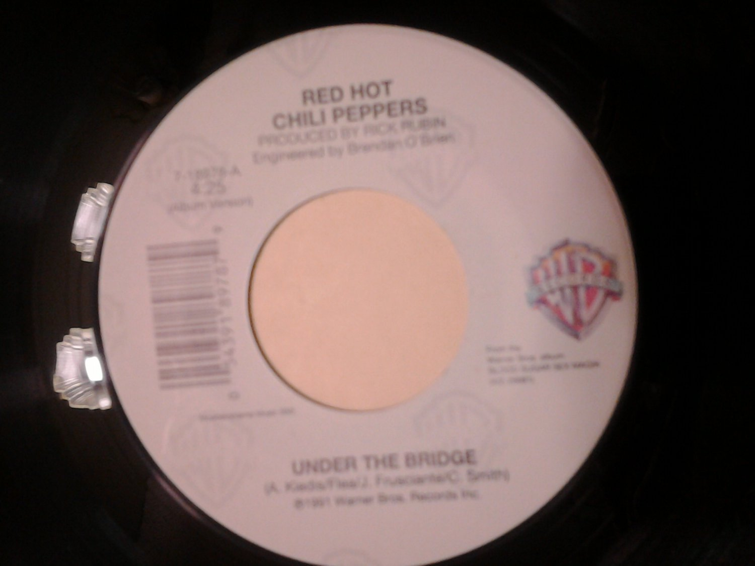 45 RED HOT CHILI PEPPERS under the bridge b/w the righteous & the wicked vintage vinyl record