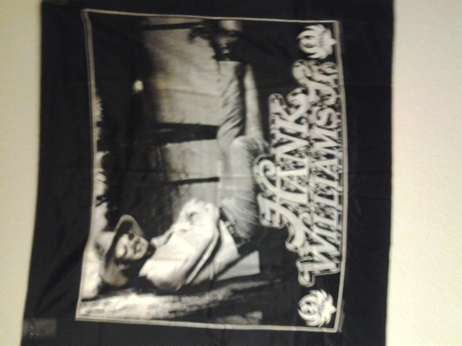 HANK WILLIAMS JR FABRIC BANNER sitting country tapestry VINTAGE