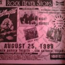CONCERT FLYER Ted Nugent night ranger quiet riot slaughter rock never stops texas