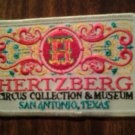 HERTZBERG CIRCUS iron-on PATCH collection & museum san antonio texas VINTAGE