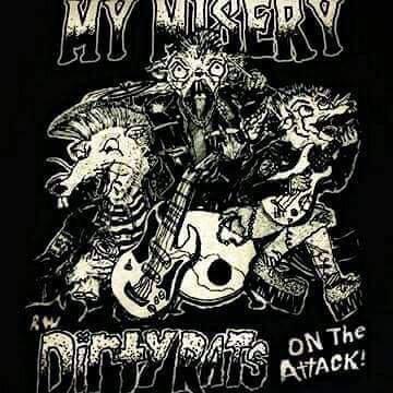 MY MISERY SHIRT dirty rats texas punk rock band gokart NEW L