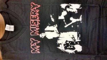 MY MISERY SHIRT red logo ladies V- neck texas punk rock band gokart NEW M