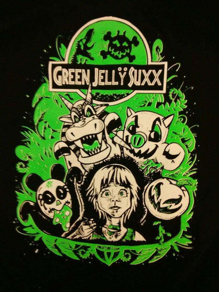 GREEN JELLY SHIRT jello Jurassic park logo NEW L