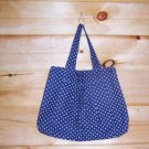 Navy with White Polka Dots Ladies Pleated Tote