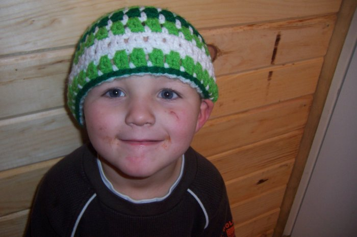 Child's Striped Hat - Shades of Green