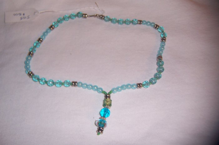 """Turqouise-look Drop Necklace 17"""""""