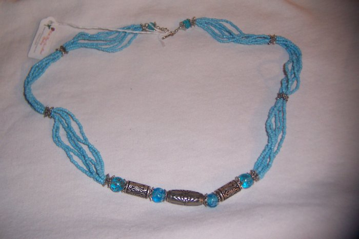 """6 Strand 24"""" Turquoise colored Necklace"""