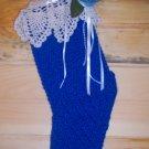 Keepsake Victorian Christmas Stocking - Royal Blue