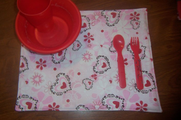 Child's Placemat - Hearts & Flowers