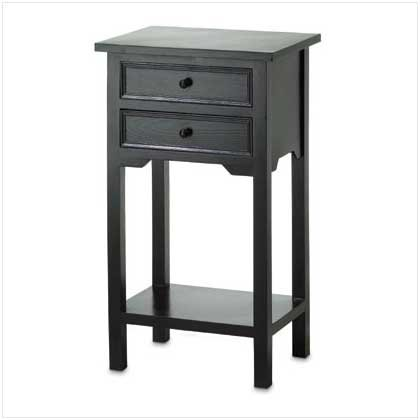 36643 Black Table with 2 Drawers