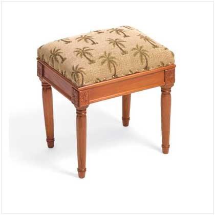 35594 Palms Fabric Vanity Stool