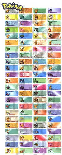Name Labels Stickers- Pokemon Series