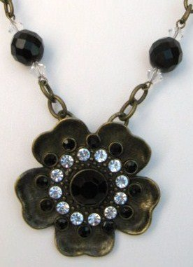 Flower & Swarovski Crystal Necklace on Chain ~ Handcrafted