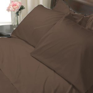 100%Egyptian Cotton Color  Chocolate 1200TC Queen Solid Sheet Set
