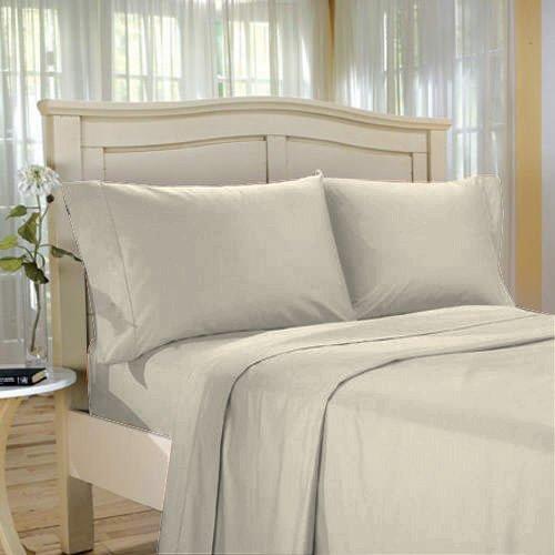 100 % Egyptian Cotton Color  Ecru 600 TC King Size Solid Sheet Set.