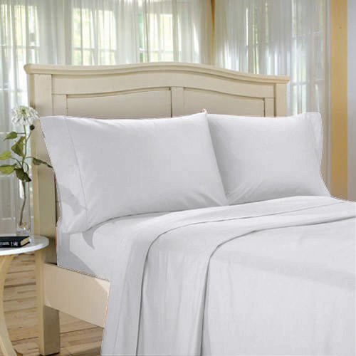 100 % Egyptian Cotton Color  White 1500 TC Queen Size Solid Sheet Set.