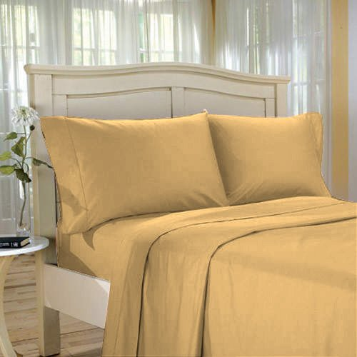 100 % Egyptian Cotton Color  Gold 1500 TC Queen Size Solid Sheet Set.