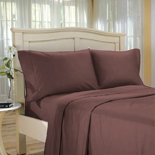 100 % Egyptian Cotton Color  Deep Red wood 1500 TC Queen Size Solid Sheet Set.