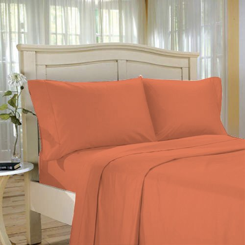 100%Egyptian Cotton Color  Clay  1200 TC Twin Size Solid Sheet Set.
