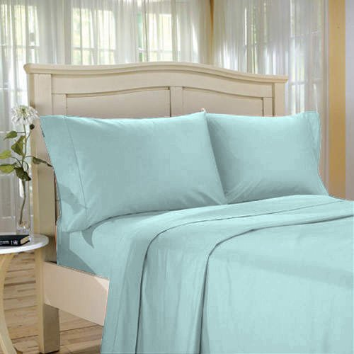 100%Egyptian Cotton Color  Meadow  1200 TC Twin Size Solid Sheet Set.