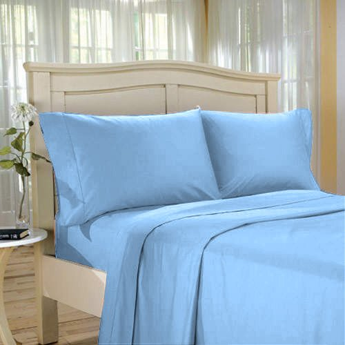 100%Egyptian Cotton Color  Blue  1200 TC Twin Size Solid Sheet Set.