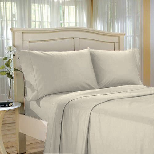 100%Egyptian Cotton Color  Ecru  1200 TC Twin Size Solid Sheet Set.
