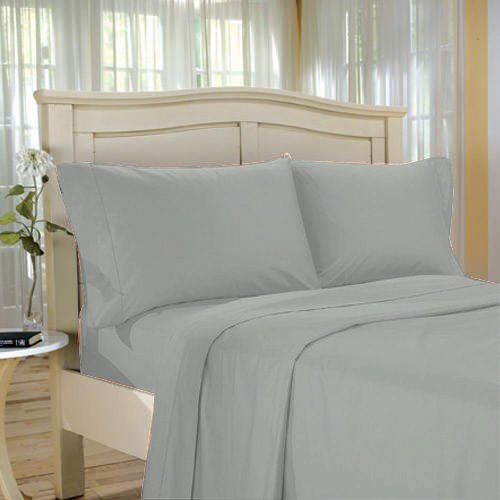 100%Egyptian Cotton Color  Platinum  1500 TC Twin Size Solid Sheet Set.