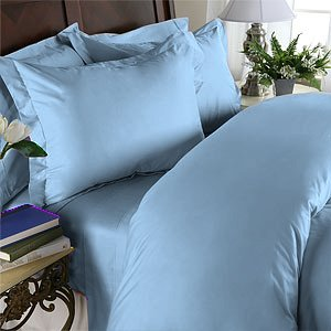 Duvet Cover With Pillow Sham Queen Solid 100% Egyptian Cotton, Color Light Blue, TC 1000.