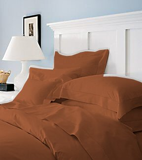 Duvet Cover With Pillow Sham Queen Solid 100% Egyptian Cotton, Color  Brick, TC 600.