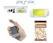 "Sony PSP ""Limited Edition"" Ceramic White ""Sudoku Bundle"" - 1 PSP Game + 1 Key Chain Sudoku Game"