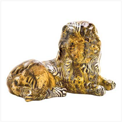 Patchwork Animal Print Lion Figurine