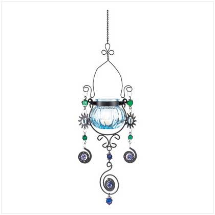 Blue Jewelled candleholder