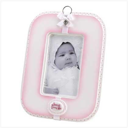 Pink Jesus Loves me Photo frame