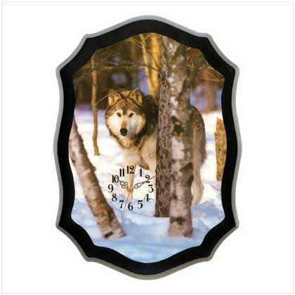 Timber Wolf Wall Clock