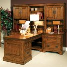 Old World Modular Home Office Oak Wood Computer Desk Furniture