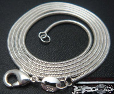 """1mm sterling silver 22"""" snake chain"""